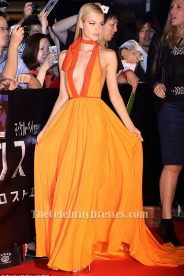 Nicola Peltz Sexy Halter Evening Dress 'Transformers Age of Extinction' Tokyo Premiere TCD6359