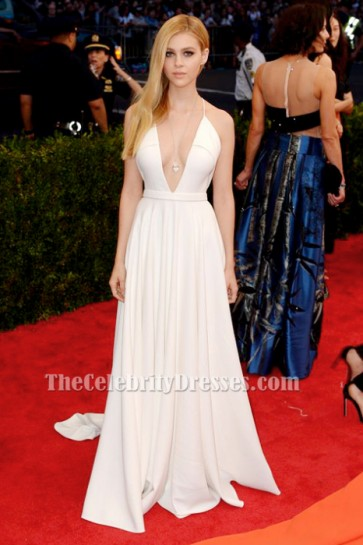 Nicola Peltz White Backless Evening Dress MET Gala 2015 Red Carpet TCD6159