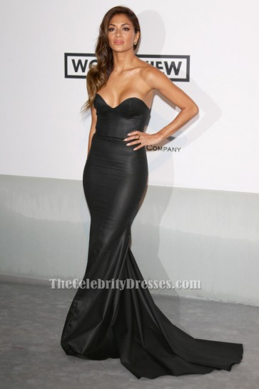 Nicole Scherzinger Strapless Black Formal Evening Gown 2014 amfAR Gala TCD6068