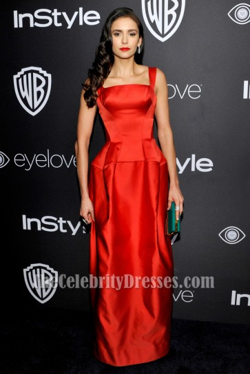 Nina Dobrev Red Evening Dress 2017 InStyle and Warner Bros. 73rd Annual Golden Globe Awards Post-Party TCD7105