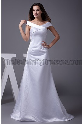 Elegant Off-the-Shoulder Chapel Train A-Line Wedding Dresses