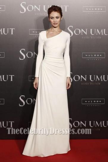 Olga Kurylenko Ivory Long Sleeve Formal Dress'The Water Diviner' Istanbul Premiere TCD5998
