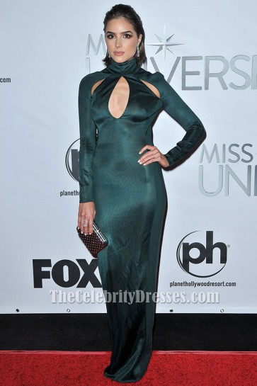Olivia Culpo Long Sleeve Evening Dress 2015 Miss Universe Pageant Gown TCD6505