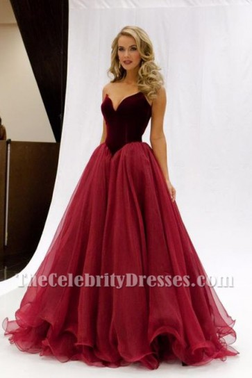 Olivia Jordan Burgundy Evening Gown Miss USA 2015 Pageant Dress TCD6552