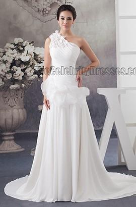 One Shoulder A-Line Chiffon Sweep/Brush Train Wedding Dress