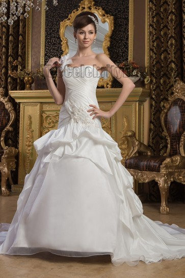 One Shoulder A-Line Taffeta Chapel Train Wedding Dresses