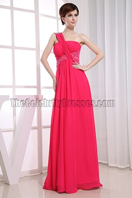 Elegant One Shoulder Chiffon Evening Dress Prom Gowns