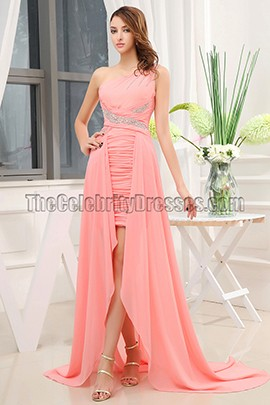 One Shoulder Chiffon High Low Prom Evening Dresses
