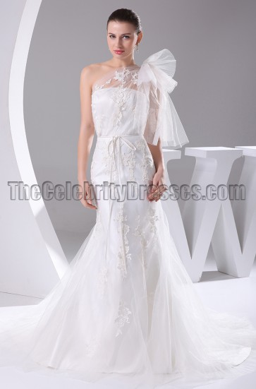 One Shoulder Embroidery Tulle Wedding Gown Bridal Dress