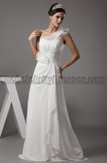 Gorgeous One Shoulder Floor Length A-Line Wedding Dresses