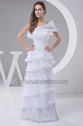 Sheath/Column One Shoulder Floor Length Chiffon Wedding Dress
