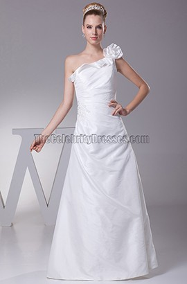One Shoulder Floor Length Taffeta Wedding Dress