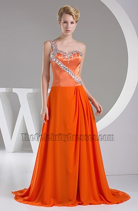 One Shoulder Orange Bridesmaid Prom Dresses With Beading