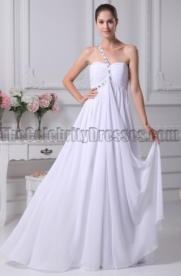 One Shoulder White Prom Gown Evening Dress