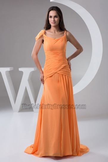 Orange Chiffon Formal Dress Evening Prom Gown