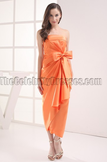 Discount Orange Strapless Bridesmaid Prom Dresses