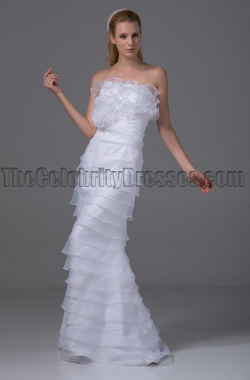 Stunning Organza Strapless Bridal Gown Wedding Dress