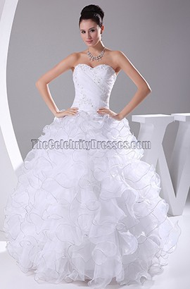 Organza Strapless Sweetheart Ruffled Ball Gown Wedding Dress