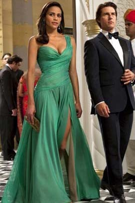Paula Patton Green Evening Dress in Movie Mission Impossible