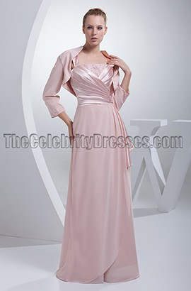 Pearl Pink Floor length Mother of the Bride Dress With A Wrap