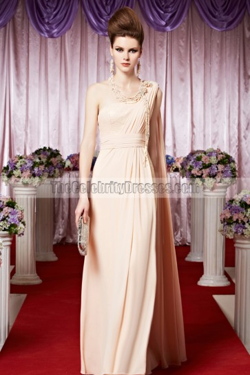 Pearl Pink One Shoulder Chiffon Prom Gown Evening Dress