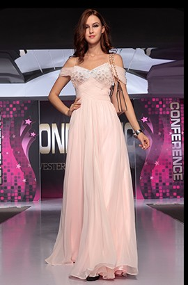 Pink Beaded Off-The-Shoulder Chiffon Prom Gown Evening Dress