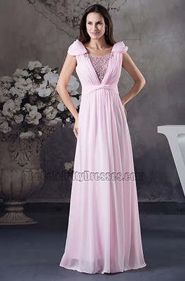 Pink Chiffon Floor Length Prom Dress Bridesmaid Evening Gown