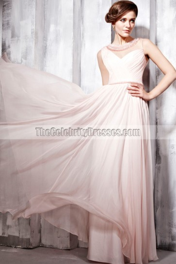 Discount Pink Sleeveless Full Length Prom Evening Dresses