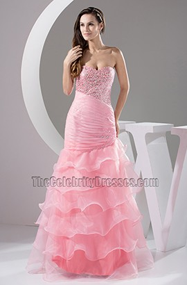 Pink Strapless Organza Formal Dress Prom Evening Dresses