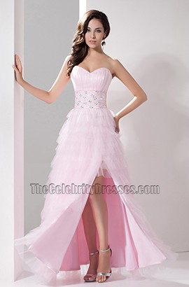 Pink Sweetheart Strapless A-Line Evening Gown Formal Dress