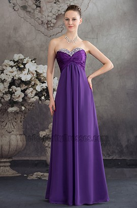 Long Purple Strapless Chiffon Bridesmaid Evening Prom Dresses
