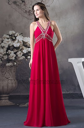 Celebrity Inspired Red Beaded Backless Prom Gown Evening Dress