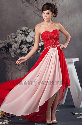 Red And Pink Sweetheart Strapless Beaded Prom Dresses