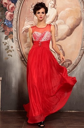 Red Floor Length Evening Gown Prom Formal Dresses