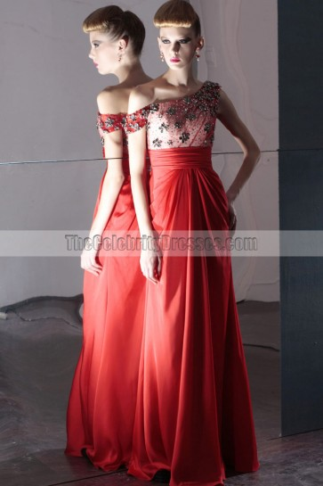 Red Floor Length Off-the-Shoulder Prom Evening Dresses
