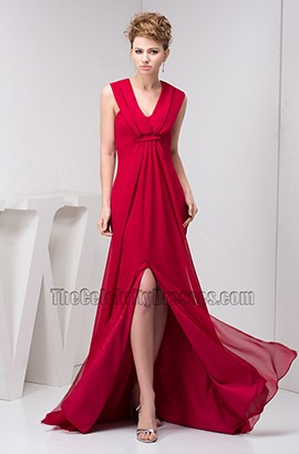 Red Halter V-Neck Chiffon Prom Dress Evening Formal Gown