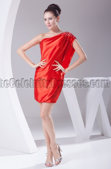 Chic Red Mini One Shoulder Cocktail Party Dresses