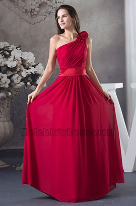 Red One Shoulder Chiffon Prom Gown Evening Formal Dresses