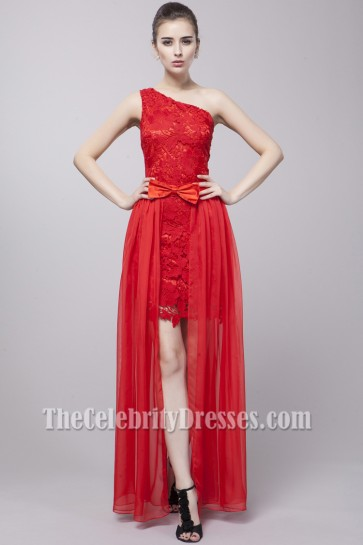 Red One Shoulder Lace Two Pieces Prom Party Dresses