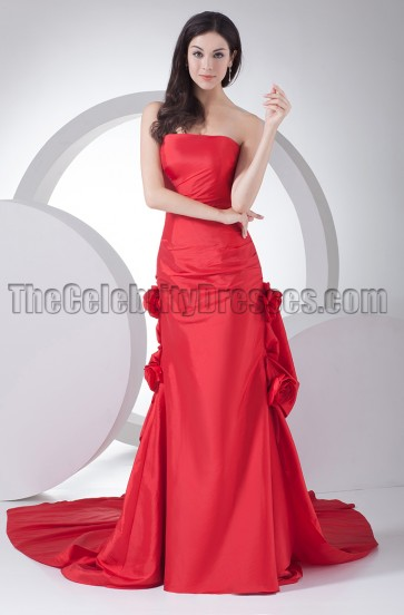 Elegant Red Strapless Formal Dress Evening Gowns