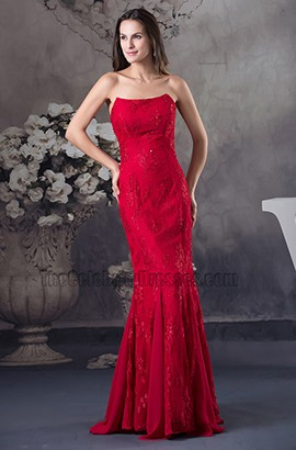Red Strapless Mermaid Embroidery Formal Dress Prom Evening Dresses