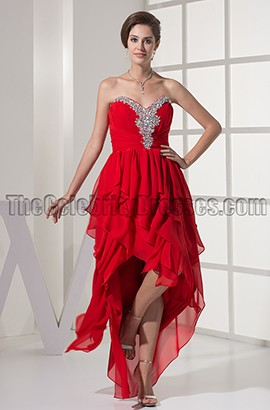 Red Strapless Sweetheart High Low Prom Gown Evening Dresses