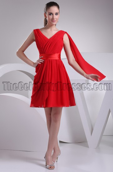 Red V-neck Short Party Homecoming Graduation Dresses