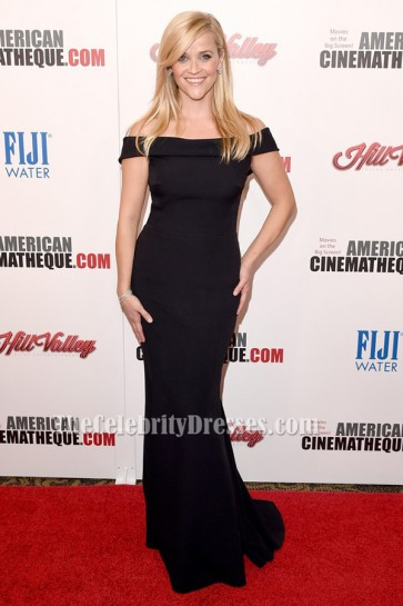 Reese Witherspoon Black Off-the-Shoulder Evening Dress 29th American Cinematheque Award TCD6381