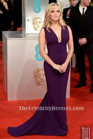 Reese Witherspoon Grape Formal Dress 2015 BAFTAs Red Carpet Gown TCD6181