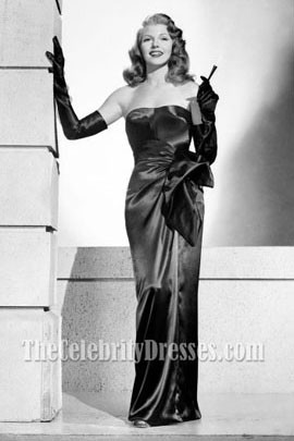 "Rita Hayworth Black Strapless Evening Dress Prom Gown in movie ""Gilda"""