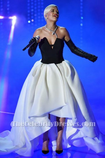 Rita Ora's White And Black Evening Dress 'Grateful' Oscars 2015 Performance TCD6200