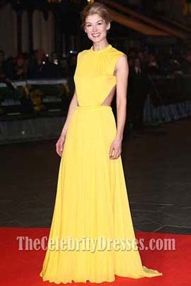 Rosamund Pike Yellow Evening Dress 'Jack Reacher' World Premiere Backless Gown