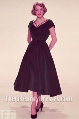 Rosemary Clooney Dark Green Velvet Cocktail Dress In White ...