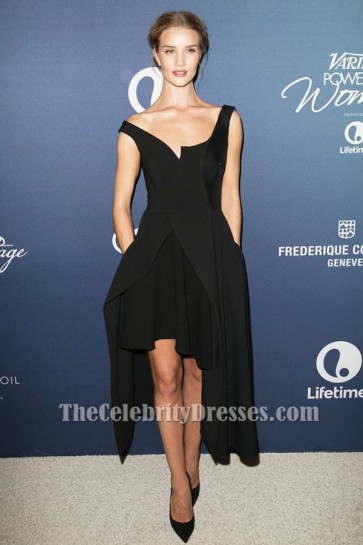 Rosie Huntington-Whiteley Black High Low Party Evening Dress Variety's Power Of Women Luncheon TCD6341